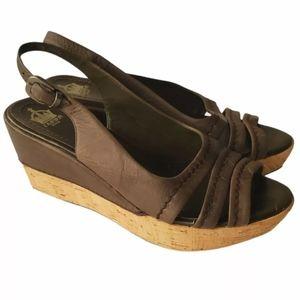 Crown Vintage Gray Slingback Wedge Sandals